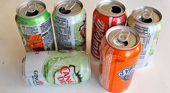Empty soda cans