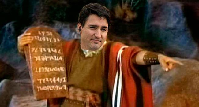 Justin Trudeau in his Moses pose