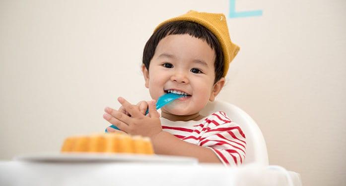 cute child eating smile kid food