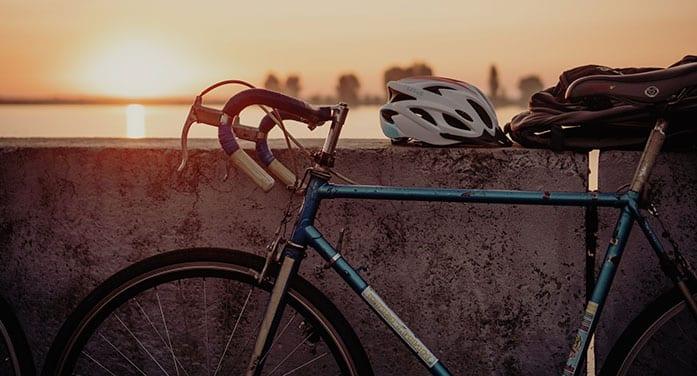 blue bike bicycle helmet sunset